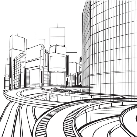 sketch of the silhouette of a big city