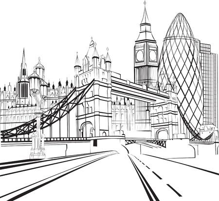 런던의 스케치 실루엣 일러스트