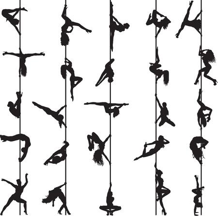 Insieme di sagome di ballerini palo Archivio Fotografico - 15708277