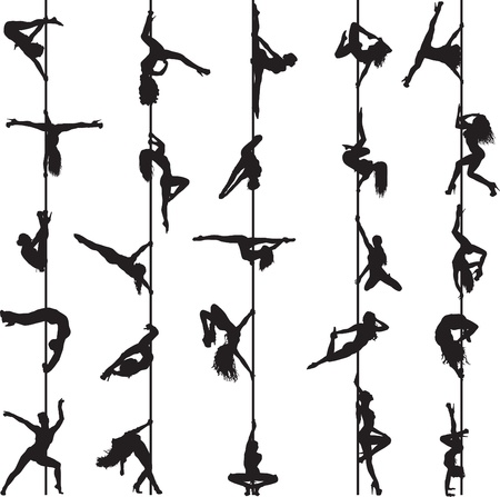 set of silhouettes of pole dancers Ilustracja