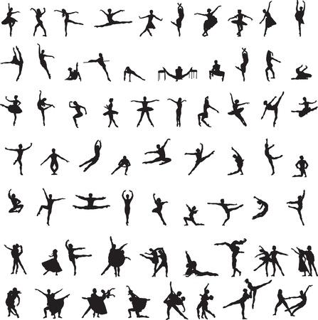 mężczyźni, kobiety i pary tańczące balet Ilustracje wektorowe