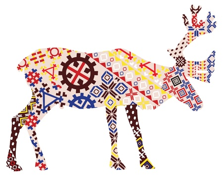 A silhouette of a reindeer in Norwegian Lapland and other patterns Vector