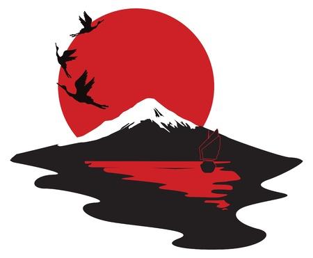 Japanese miniature with cranes and Fuji Ilustração