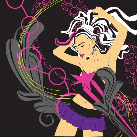 rnb: background nightlife and dancing girl Illustration