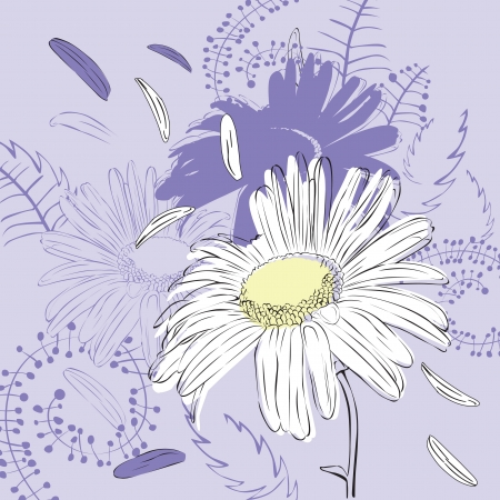 abstract purple background with camomile Stock Vector - 16123132