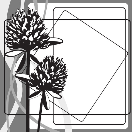 black-and-white background with stylized flowers clover Stock Vector - 16123131