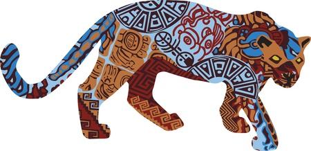 cultura maya: Jaguar en un fondo blanco en los patrones de los indios de América Central Vectores