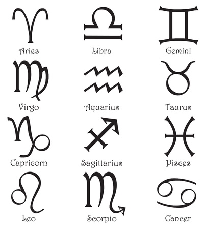 Set of 12 zodiac signs on a white background Vector