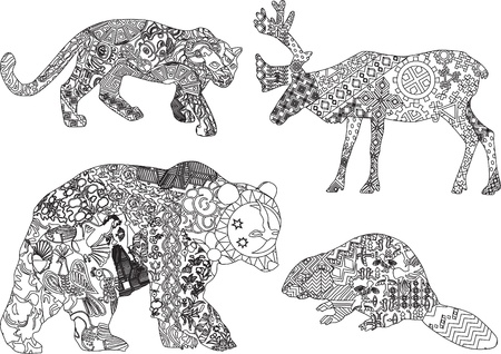 four animals from different countries in ethnic patterns