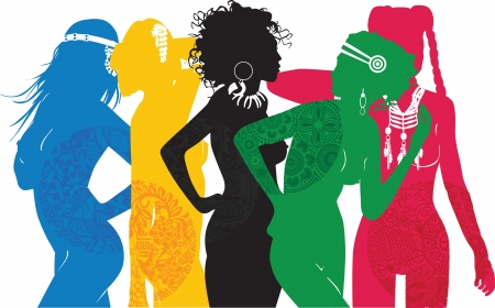 girl symbolizing different sides of the world Vector