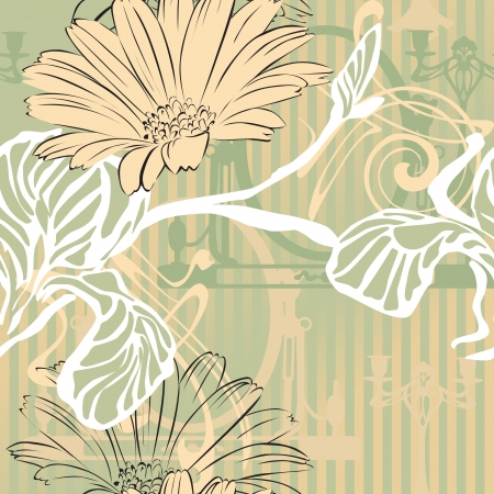 calendula flower: abstract background with decorative elements Performing Art Nouveau and councils decision Illustration