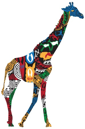 maasai: Giraffe in the African ethnic pattern on a white background