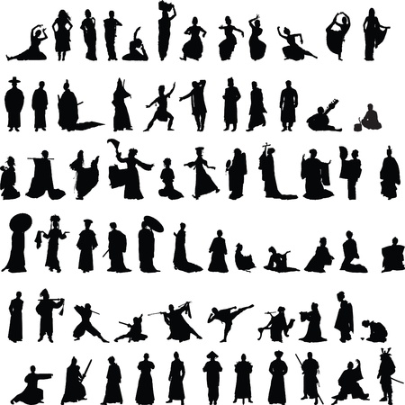 collection of Indian, Chinese and Japanese silhouettes on a white background