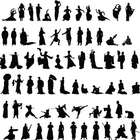verzameling van Indiase, Chinese en Japanse silhouetten op een witte achtergrond