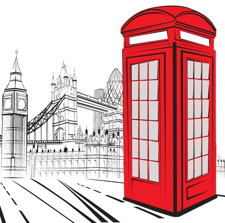 romantic getaway: schematic sketch of the sights of London Illustration