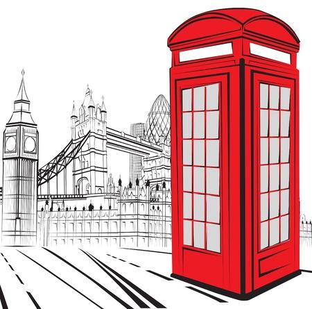 london: schematische schets van de bezienswaardigheden van Londen Stock Illustratie