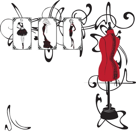 frame with elements of the fashion industry Illustration