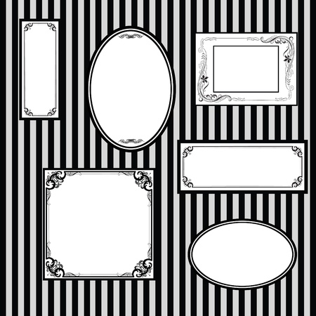 set of different frames on the wall with stripes Vector