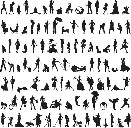 100 silhouettes of women in the different exercises on a white background