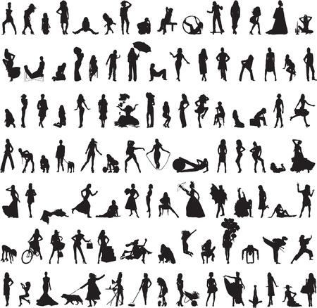 100 silhouetten van vrouwen in de verschillende oefeningen op een witte achtergrond Stock Illustratie