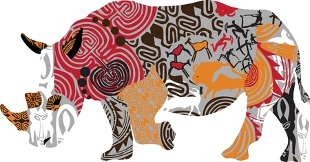 masai: rhino in Africa, ethnic ornaments