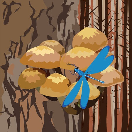 landscape with mushrooms on a tree and dragonfly Vector