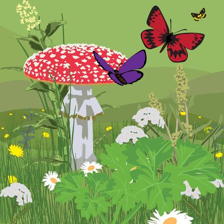 inedible: landscape with butterflies and fly agaric