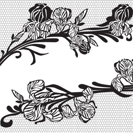 frame made of black lace with flowers Vector
