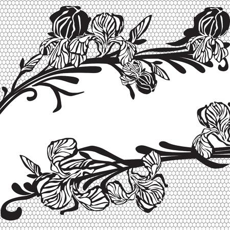 frame made of black lace with flowers Ilustração