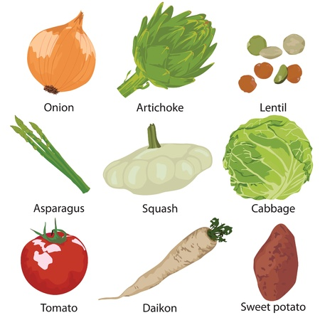 9 different vegetables on a white background