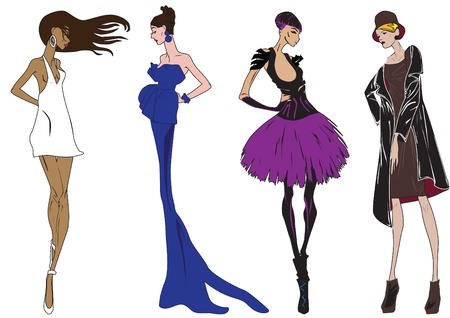 different types: sketch of the different types of models Illustration