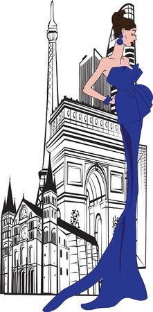 Parisian woman on a background of city Vector
