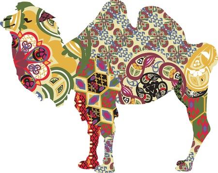 bactrian in ethnic patterns Ilustração
