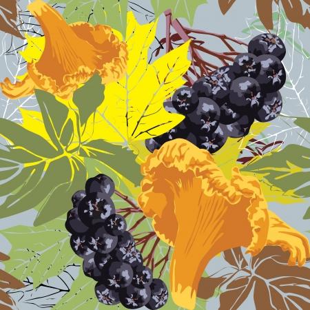 chokeberry: Seamless autumn background