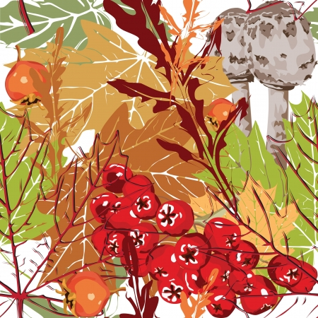 Seamless colorful background with berries, leaves and mushrooms Vector
