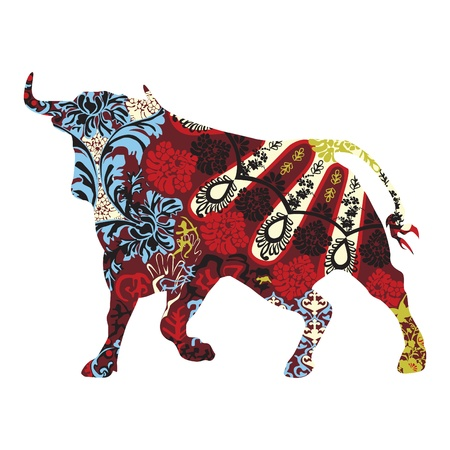 spanish bull: bull in a Spanish ornament