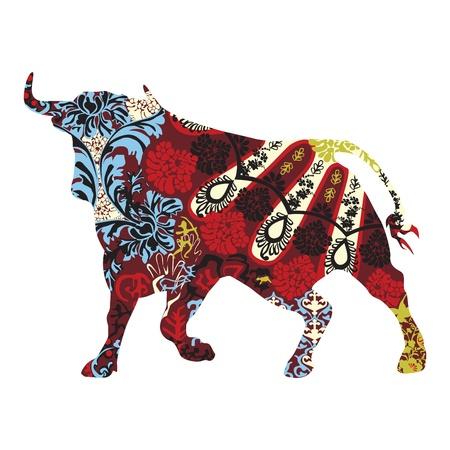 coiffer: taureau dans un ornement espagnol