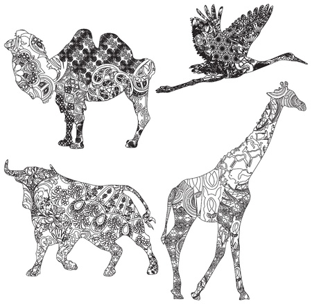 humped: animals of different countries in ethnic ornaments on a white background