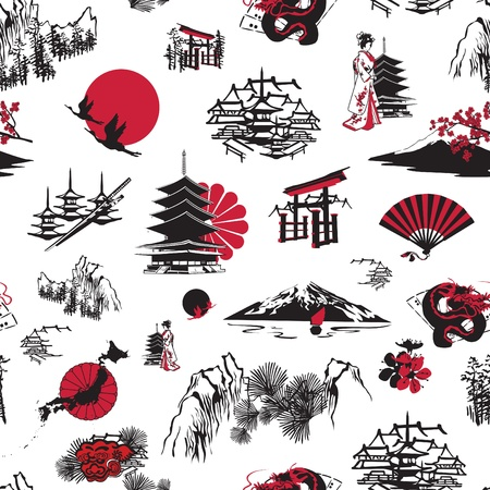 seamless background with Japanese miniatures on a white background