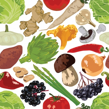 seamless pattern of fruits, berries, mushrooms on a white background Vector