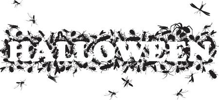frightful: inscription of Halloween silhouettes of black beetle