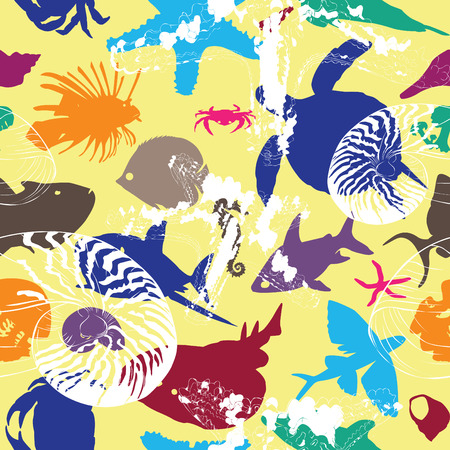 bright background with colorful underwater creatures Vector