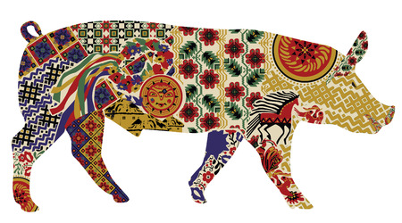silhouette of a pig in a Ukrainian folk ornaments on a white background Vettoriali