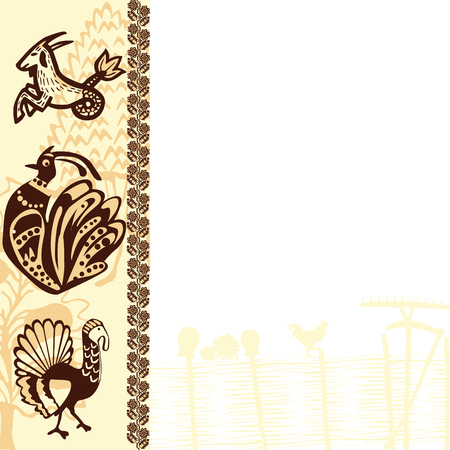 slavic: background with ethnic Slavic patterns and pictures Illustration