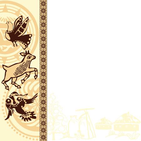 slavic: sfondo con motivi etnici slavi e immagini