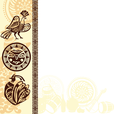 stylistic: background with ethnic Slavic patterns and pictures Illustration