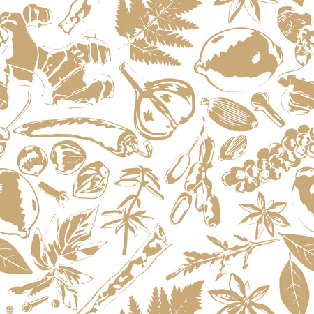 ginger root: Seamless background with different spices on white background