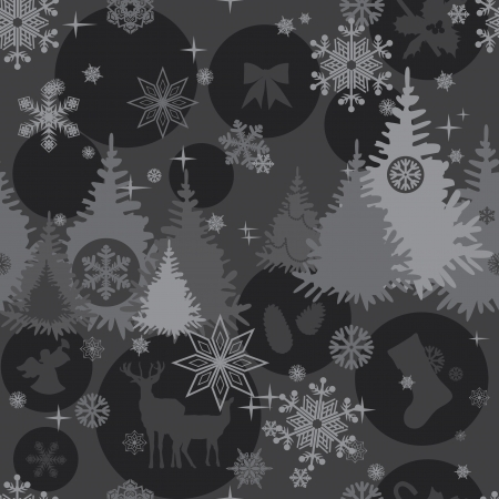 Christmas seamless background in shades of gray Vector