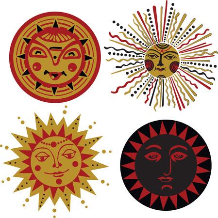 splint: sol se pone en el estilo de la antigua tablilla eslava Vectores