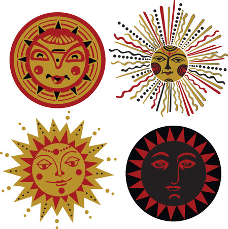 sun sets in the style of ancient Slavonic splint Stock Vector - 24803444